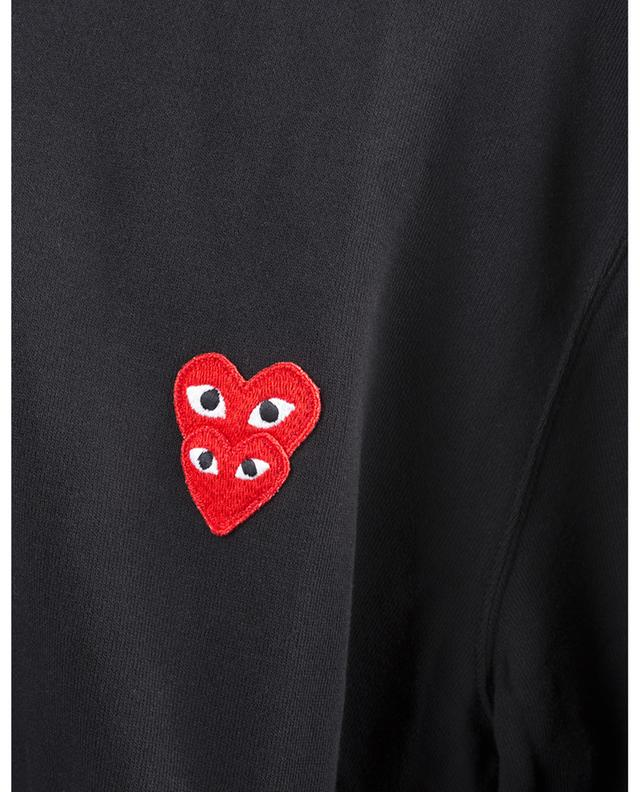 Sweat-shirt zippé à capuche brodé coeurs rouges COMME DES GARCONS PLAY