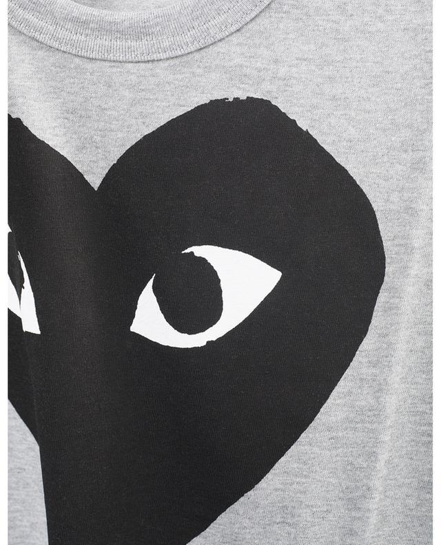 T-shirt gris à manches courtes imprimé grand coeur noir COMME DES GARCONS PLAY