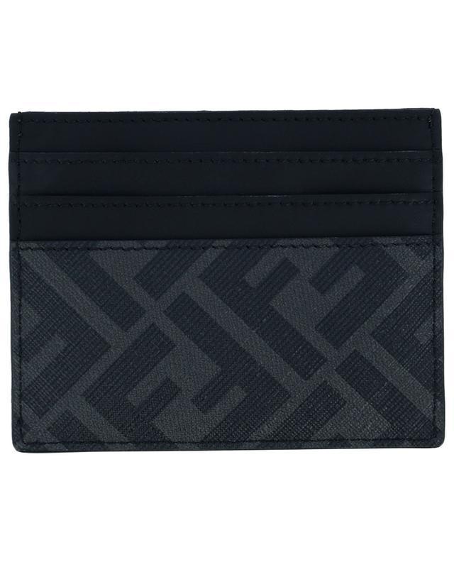Porte-cartes en cuir et toile FF détail diagonal FENDI