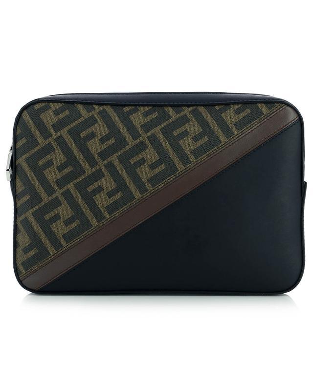 Sacoche en cuir et toile FF détail diagonal Camera Case Medium FENDI