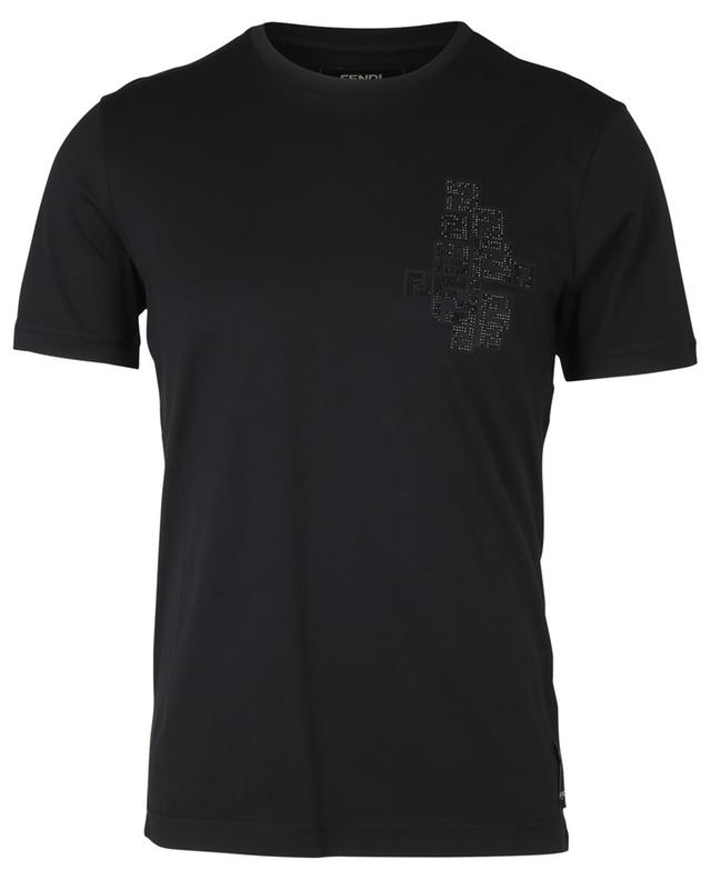 T-shirt en coton logo FF en cristaux FENDI