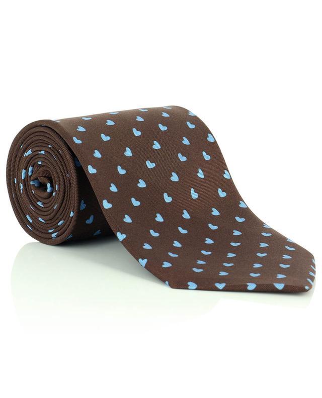 Cravate en sergé de soie imprimée coeurs Cuori FEFE NAPOLI
