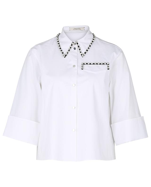 Poplin Power short loose crystal embellished shirt DOROTHEE SCHUMACHER