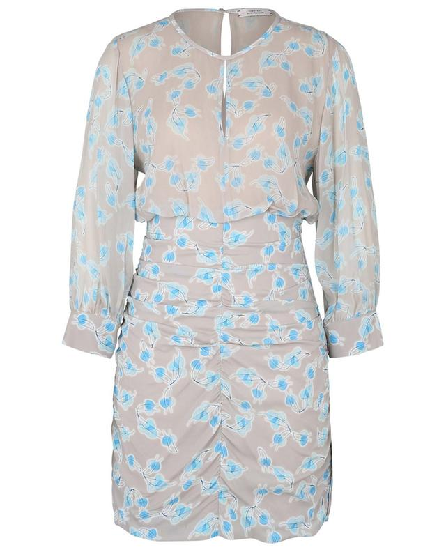 Radiant Leaves printed gathered crepe mini dress DOROTHEE SCHUMACHER