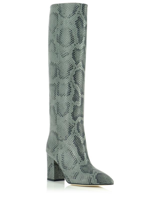 Bottes à talon carré en cuir imprimé python 80 PARIS TEXAS