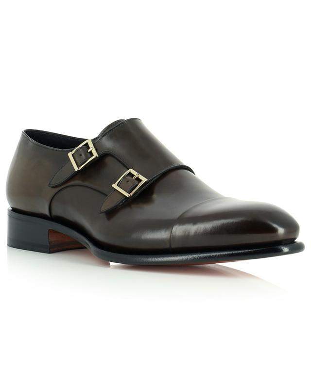 Chaussures en cuir lisse Monk strap SANTONI