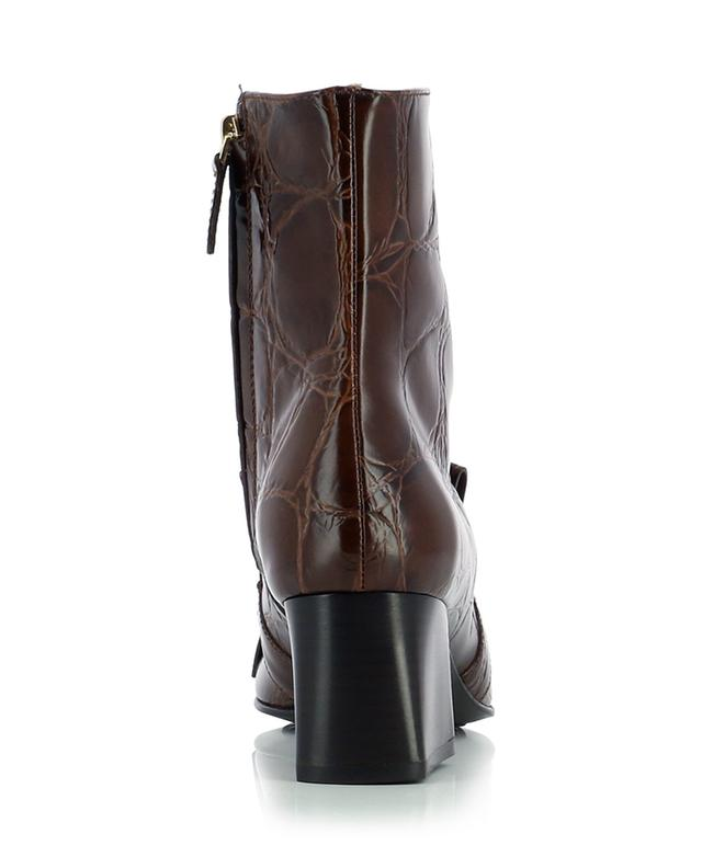 Fringed croc effect leather booties with buckle TOD'S
