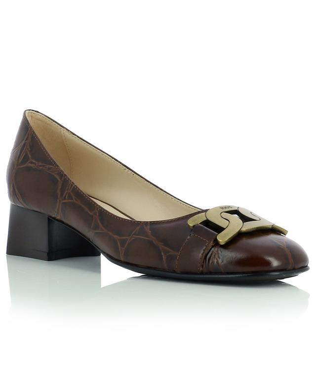 Croc effect leather pumps TOD'S