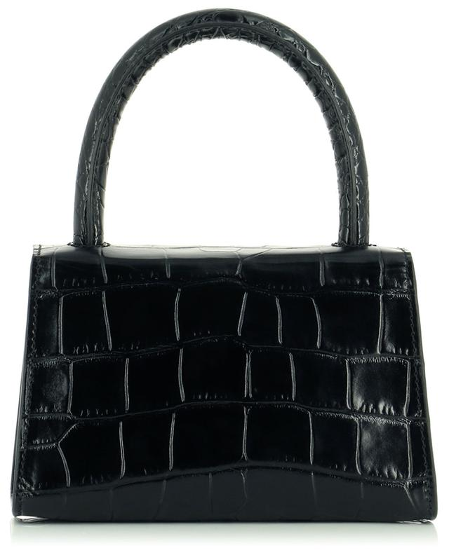 Mini Black croc embossed leather tote bag BY FAR