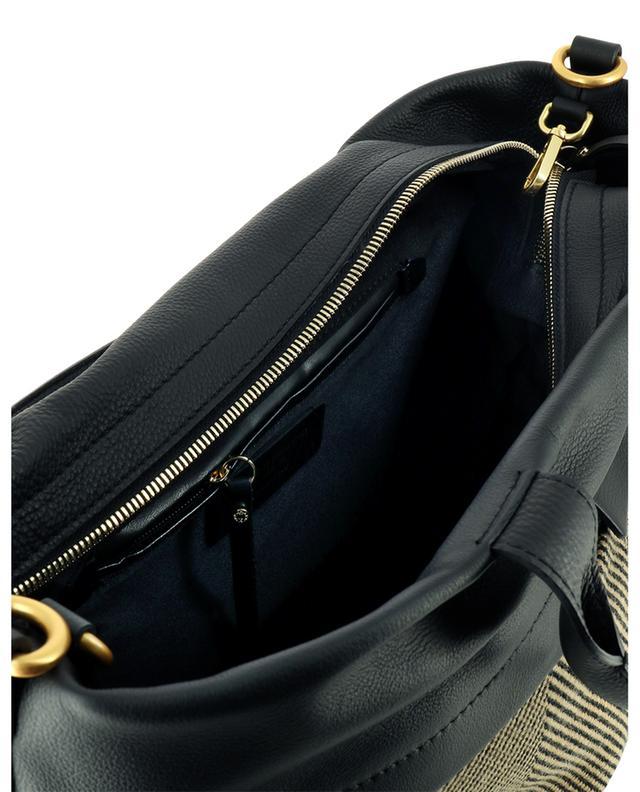 Grand sac à main en cuir et tissu à chevrons Duna GIANNI CHIARINI