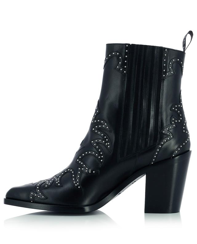 Smooth leather western booties with studded flame patterns SARTORE