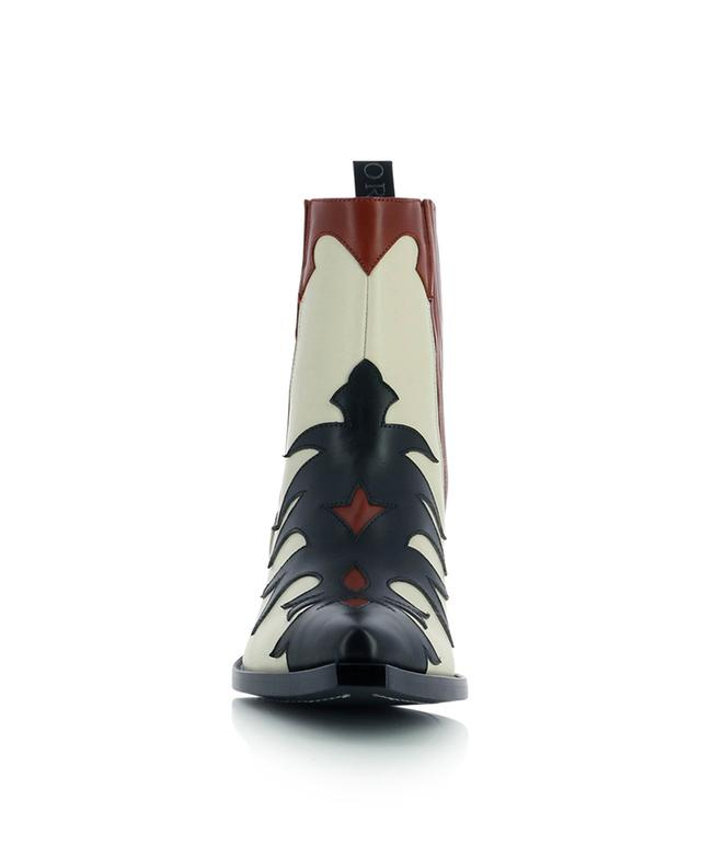 Bottines esprit western en cuir nappa multicolore motifs flammes SARTORE