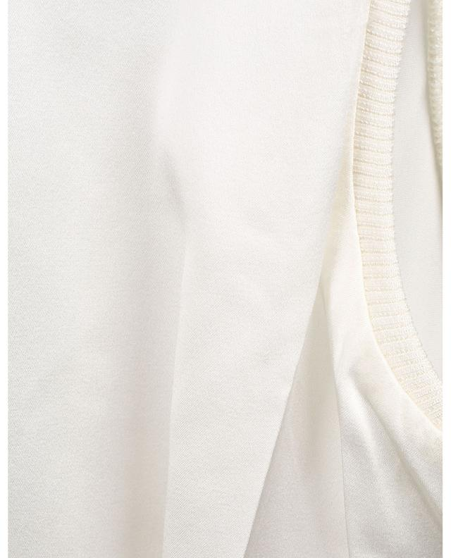 Shimmering Shine sleeveless satin top with knit mock neck DOROTHEE SCHUMACHER