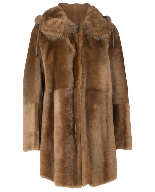 Parka réversible en peau lainée ornée de fourrure de renard YVES SALOMON