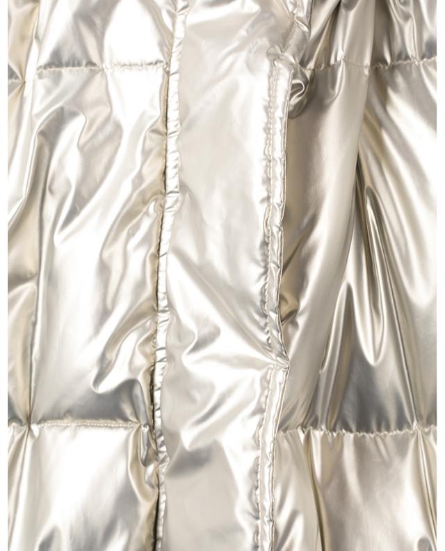 Veste matelassée longue en nylon métallisé ornée de fourrure de lapin YVES SALOMON