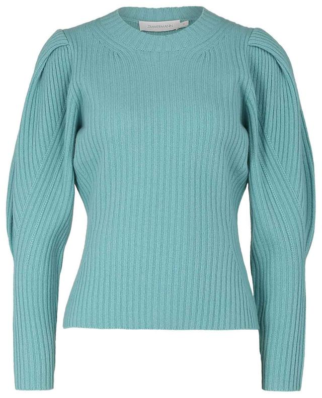 Ladybeetle round neck cashmere jumper with puffy sleeves ZIMMERMANN