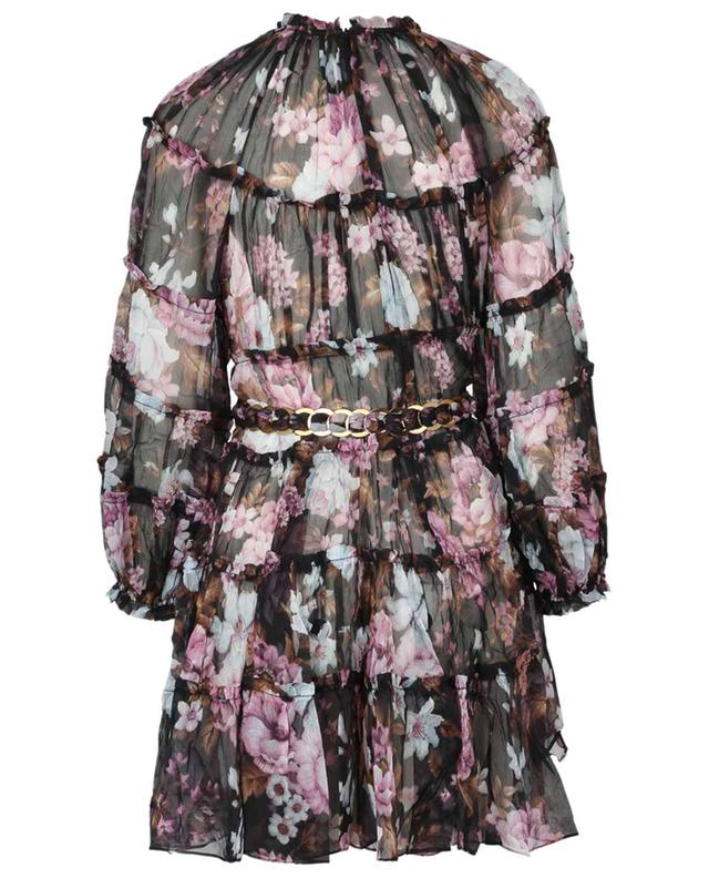 Charm Tiered floral silk mini dress with belt ZIMMERMANN