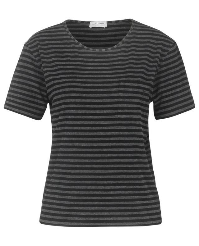 T-shirt rayé brodé monogramme YSL SAINT LAURENT PARIS