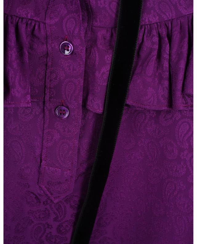Blouse en soie texturée paisley embellie de velours SAINT LAURENT PARIS
