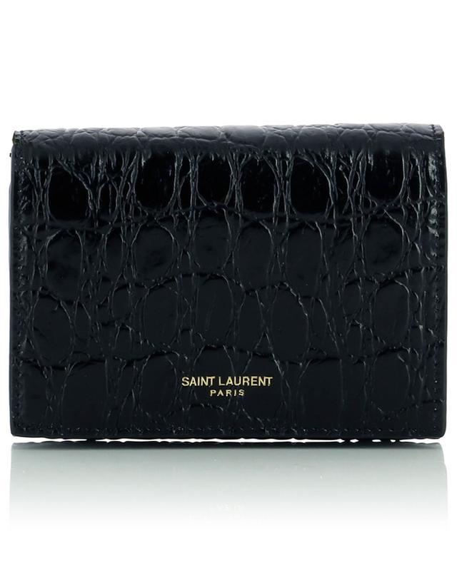 Portefeuille avec chaîne en cuir effet croco SAINT LAURENT PARIS