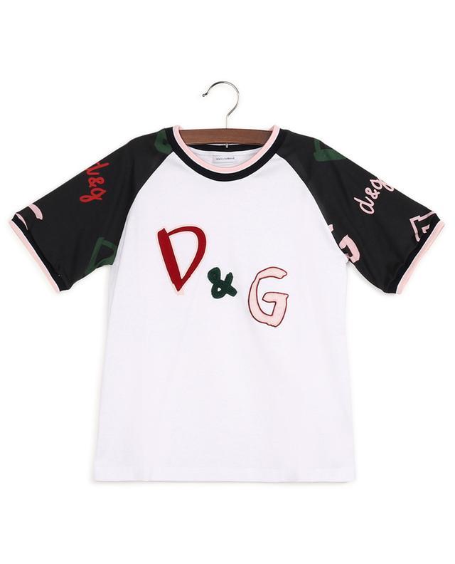 T-Shirt aus Baumwolle mit D&G-Stickerei DOLCE & GABBANA