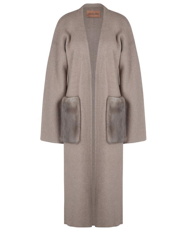 Manteau en maille embelli de vison YVES SALOMON