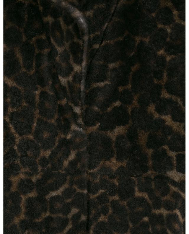 Manteau réversible en peau lainée d'agneau imprimé léopard YVES SALOMON