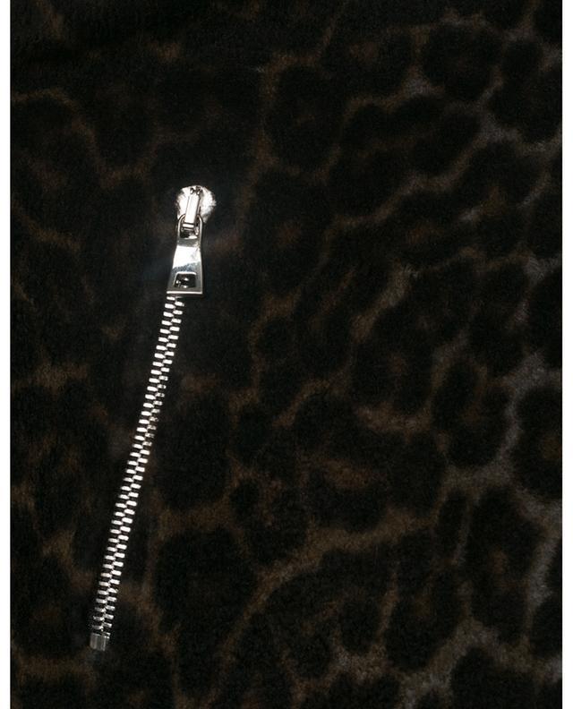 Veste courte en cuir et fourrure imprimée léopard YVES SALOMON