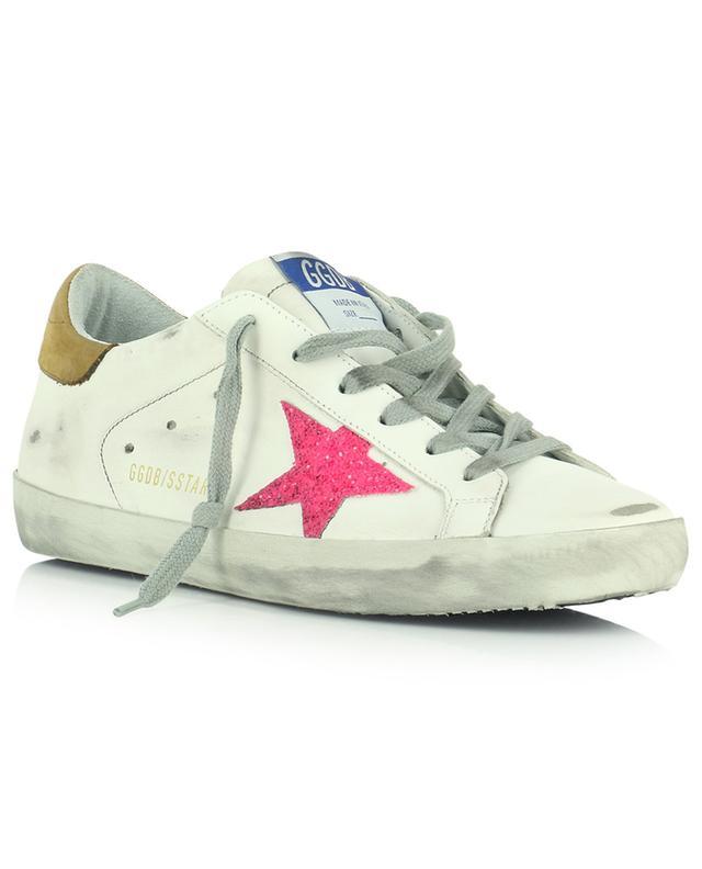 Baskets en cuir blanc étoile rose pailleté Superstar GOLDEN GOOSE