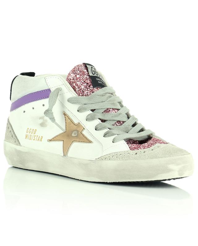 Mid Star white high-top sneakers in leather, suede and pink glitter GOLDEN GOOSE