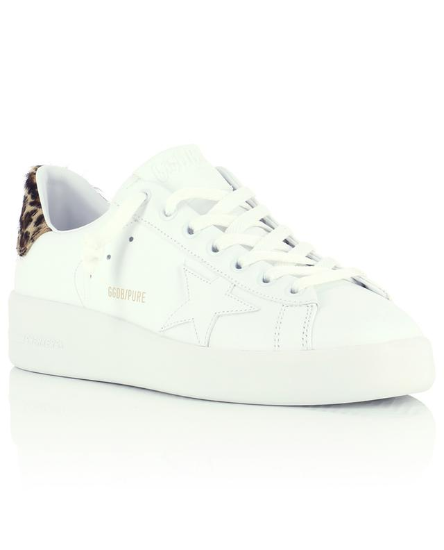 Pure Star leather wedge sneakers with leopard detail GOLDEN GOOSE