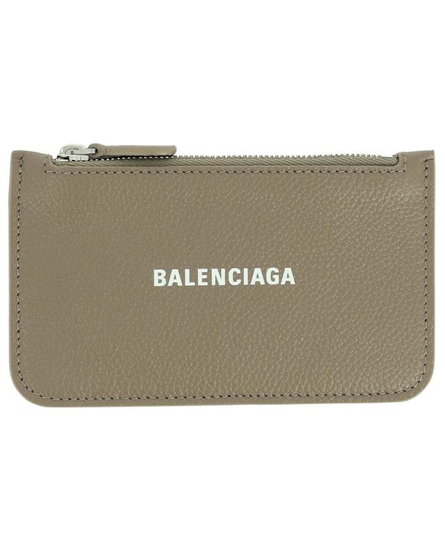 Porte-cartes long avec poche zippée en cuir grainé Cash BALENCIAGA