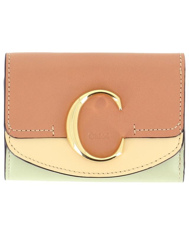 Mini portefeuille en cuir lisse Chloé C CHLOE