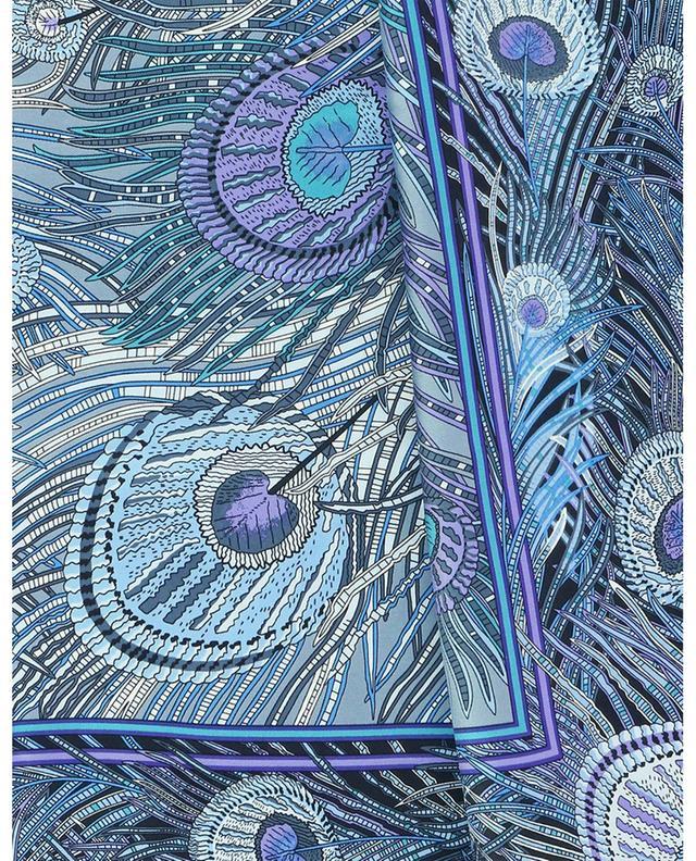 Foulard carré en soie imprimé plumes de paon Hera LIBERTY LONDON