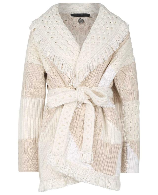 Fisherman Quilting cashmere and wool cable knit cardigan ALANUI