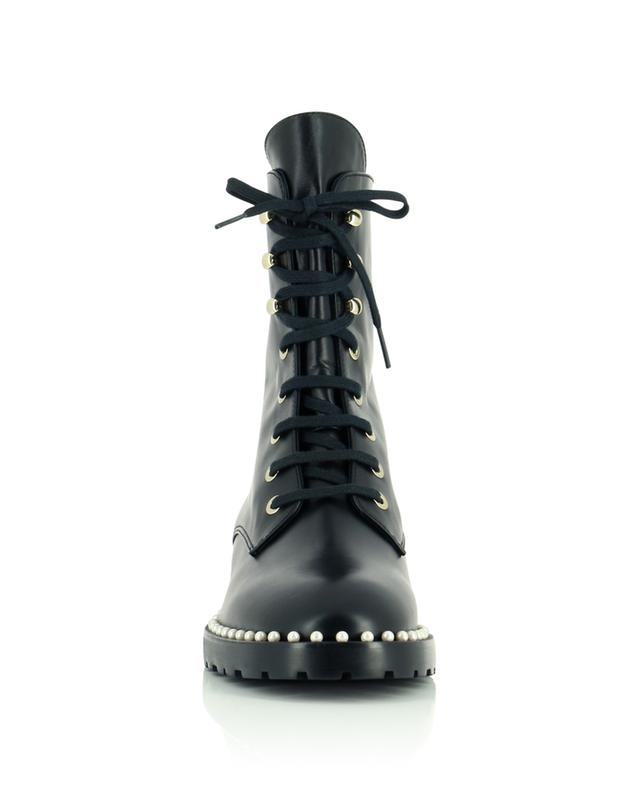 Allie 40 pearl embellished leather lace-up booties STUART WEITZMAN