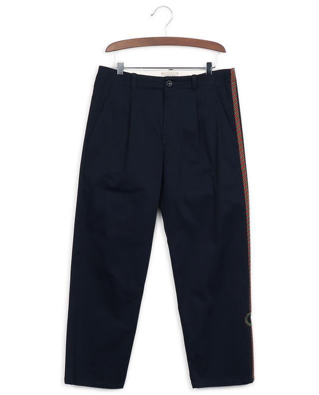 Pantalon à pinces en gabardine bande latérale Interlocking G GUCCI