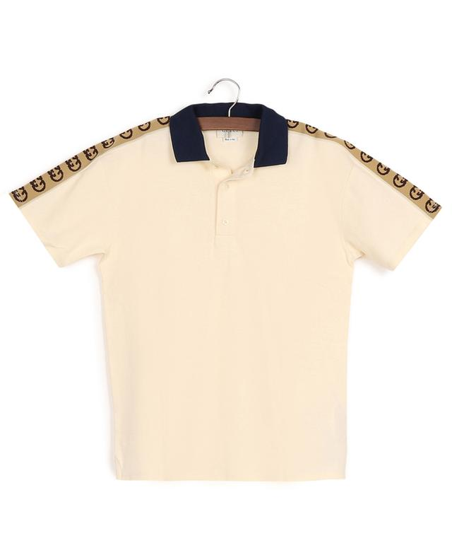 Polo en coton piqué orné d'un ruban jacquard Interlocking G Stripe GUCCI