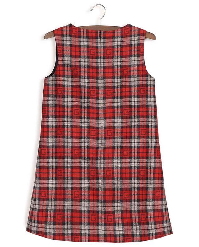 Robe sans manches en coton et lin à carreaux Square G GUCCI