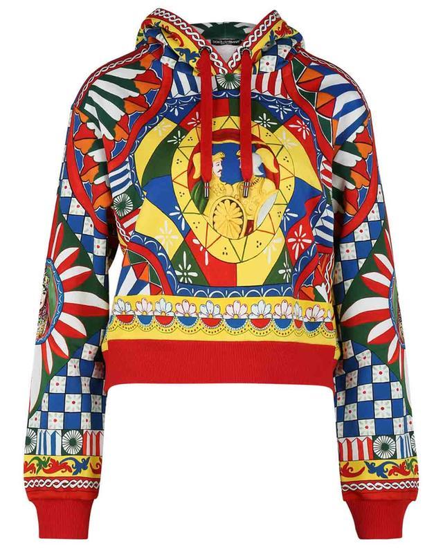 Sweat-shirt boxy imprimé à capuche Carretto DOLCE & GABBANA