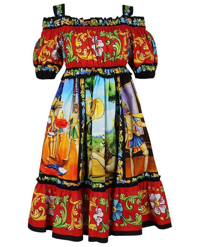 Robe courte évasée épaules nues imprimée Carretto DOLCE & GABBANA