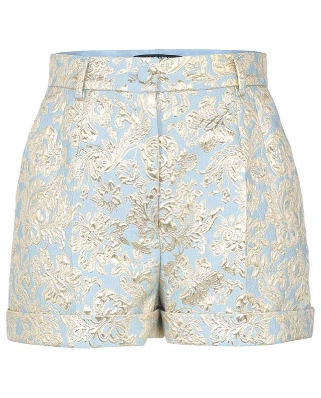 Short taille haute en jacquard bleu et doré DOLCE & GABBANA