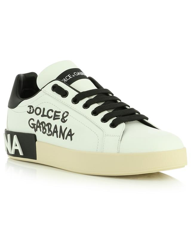 Portofino low-top leather sneakers with logo print DOLCE & GABBANA