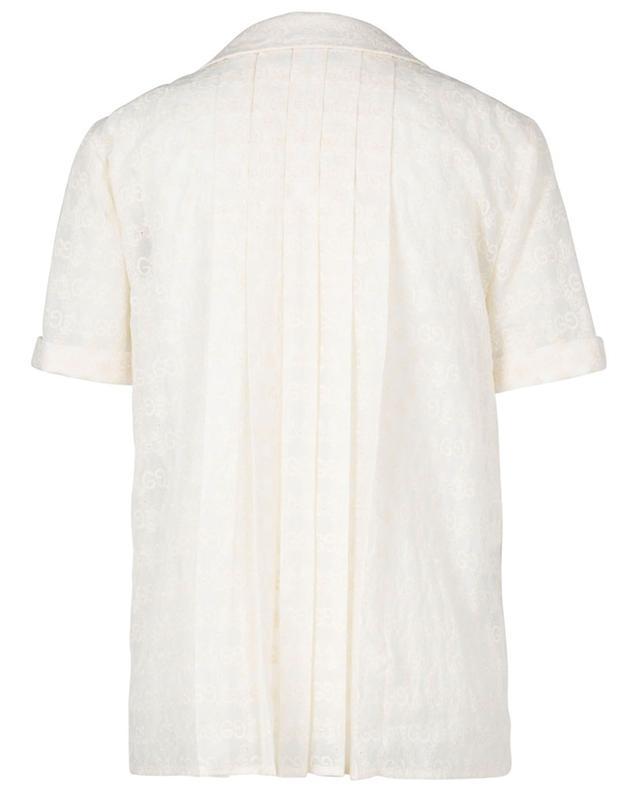 Chemise trapèze à manches courtes en voile brodée GG GUCCI