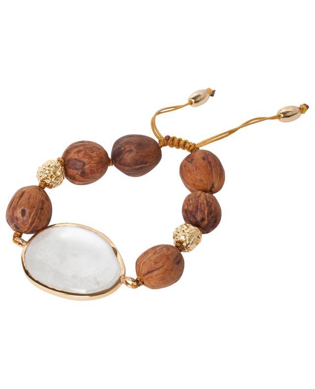 Bracelet en bois, métal doré et cristal de roche Lumia Resort Theia Small III TOHUM