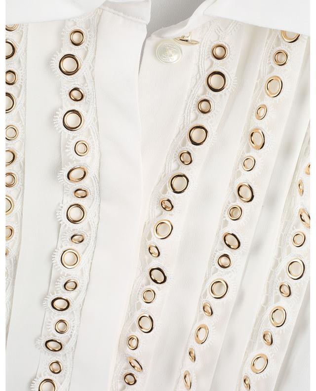 Blouse plissée en crêpe embellie de dentelle et d'oeillets MAISON COMMON
