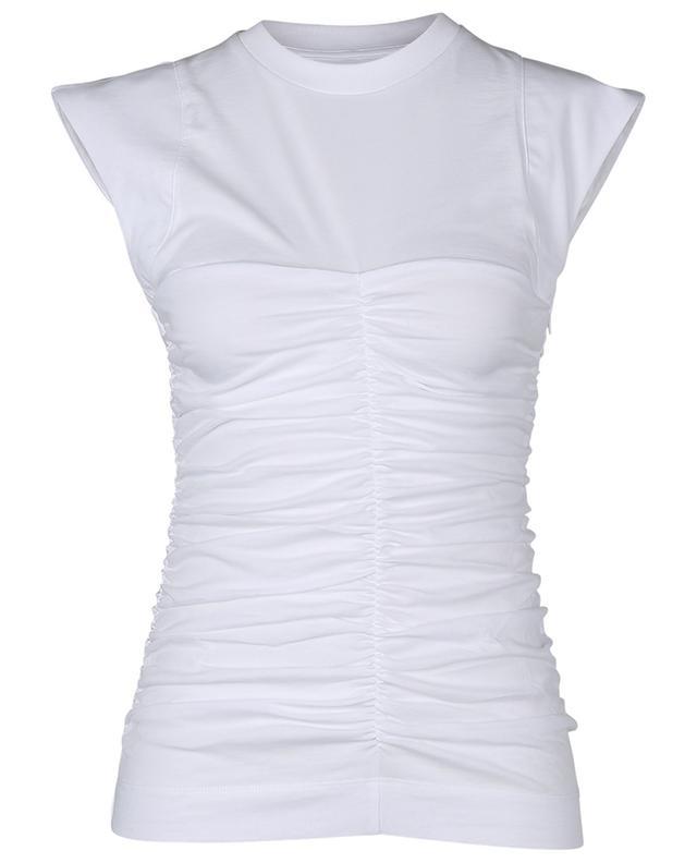 T-shirt ajusté froncé en coton bio GANNI