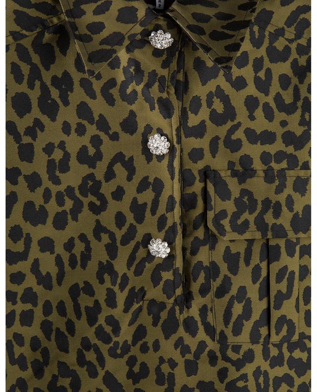 Mini robe plissée en jacquard motif léopard GANNI