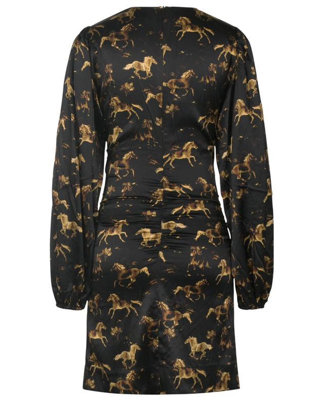 Mini robe froncée en satin imprimé chevaux GANNI