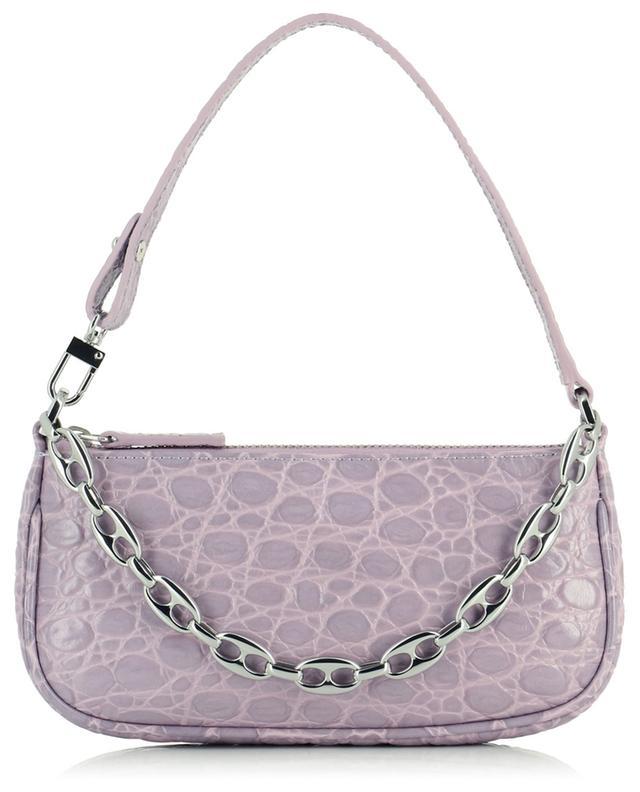 Handtasche aus Leder in Kroko-Optik Mini Rachel Lilac BY FAR